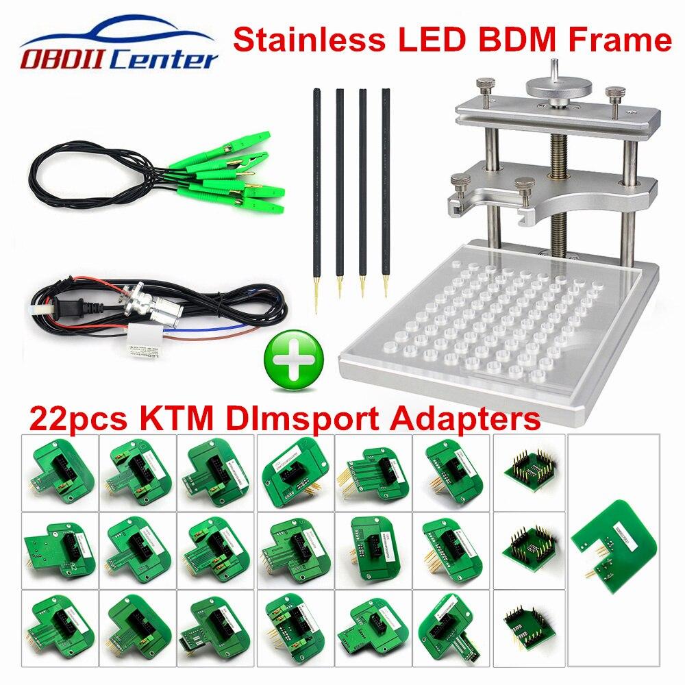 Full BDM Frame Aluminium Adapter For Ktag KESS Galletto Fgtech V54 Metal Steel LED BDM Frame Kit With 22pcs Adapters For BDM100